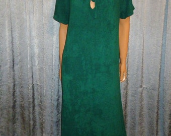 Vintage 70's - Emerald Green - Terrycloth  - Keyhole - Robe - Pool - Beach Cover - Dress - bust size 40""