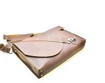 Industrial Men's Leather Laptop Bag with Unique Harness Strap - Steampunk Rustic Satchel