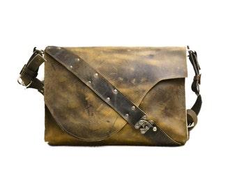 Dark Brown Leather Laptop Bag Satchel - Rustic and Industrial
