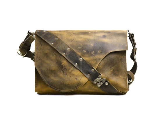 Dark Brown Leather Laptop Bag Satchel - Rustic and Industrial