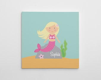 Mermaid Canvas Print, Nursery Mermaid Canvas Art, Mermaid Nursery Decor, Nursery Art Print, Mermaid Wall Art, Made to look like your child!