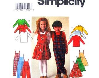 Girls Top Jumper & Overalls Pattern Simplicity 7352 Bib Skirt Sewing Pattern Size 5 6 6X UNCUT