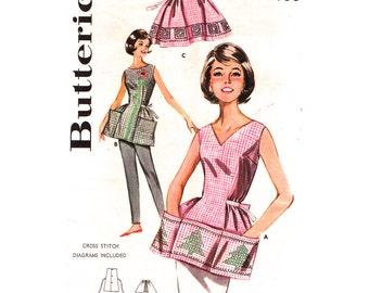 1960s Vintage Apron Pattern Butterick 9982 Kitsch Cross Stitched Cobbler Apron Patch Pockets Half Apron Womens Sewing Pattern Bust 34 36