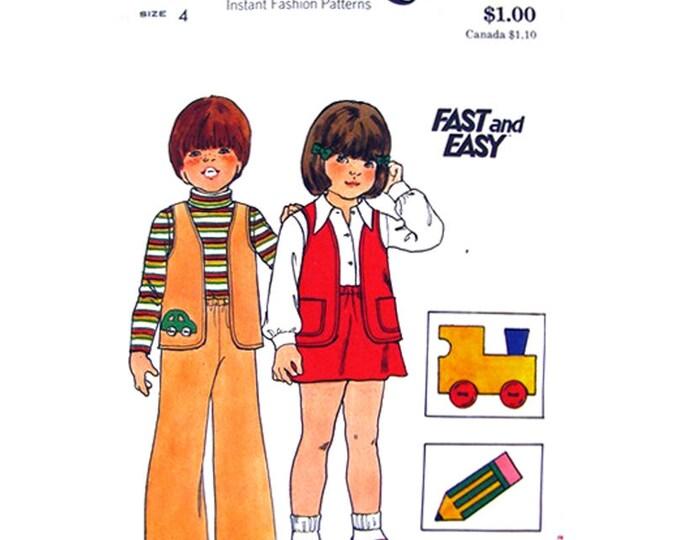 Boys & Girls 70s Vest Skirt Flared Pants Pattern Butterick 3871 Childs Size 4