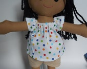 Black Haired Rag Doll with Braids - Doll with Clothes - Doll for Toddler - Handmade Rag Doll - Cloth Doll - Dark Skinned - Black Doll