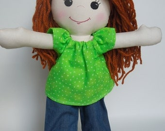 Red Headed Long Haired Rag Doll - Doll with Clothes - Doll for Toddler - Handmade Rag Doll - Cloth Doll - Red Hair Doll / Ginger Doll