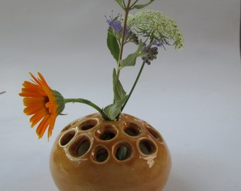 Tan Holey Lotus Pod Bud Vase for A Single Flower Ceramic Vessel