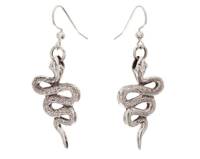 Handcarved Sterling Silver Snake Earrings
