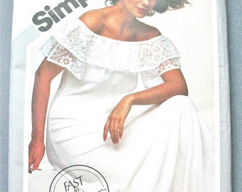 Uncut Simplicity 9964 Misses' Pullover Dress off the shoulder dress has lace ruffle raglan sleeves Vintage Sewing Pattern Bust 36