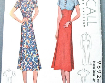 Vintage 1930s Sewing Misses' Dress Pattern McCall 9692  Bust 32 inches
