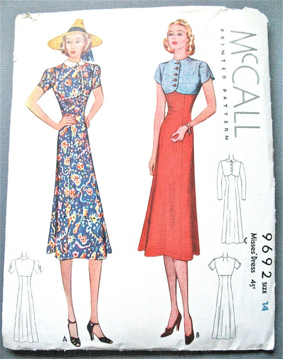Vintage 1930s Sewing Misses' Dress Pattern McCall 9692