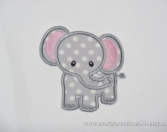 Embroidered Iron On Applique- Elephant
