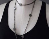 Original hand hammered fine silver disc long layering necklace