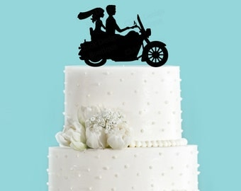 Motorcycle Bike Wedding Cake Topper