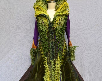 Custom green sweater Coat for Beth. Fantasy bespoke clothing