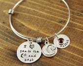 Love you to the moon and back Bracelet, Personalized Bangle Bracelet, Silver Bangle Charm Bracelet, Name Bangle Bracelet