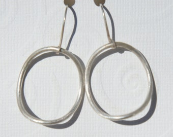Big Matte Finished Silver Hoops with Earwires