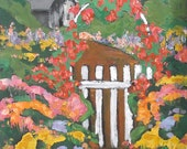 Lynne French Impressionist Painting Country Flower Cottage GARDEN GATE Potting Shed Art 16x20