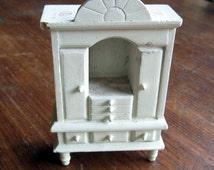 Vintage Miniature White Armoire Dollhouse Bedroom Decor