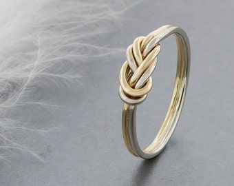 alternative engagement ring, 14k solid gold climbing knot ring, tied and dressed double figure 8 knot