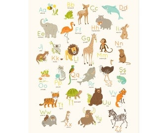 ROMANIAN Alphabet Wall art, Romania art for kids, nursery wall decor, animal ABC