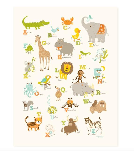Alphabet wall art, ABC wall decor, Wall nursery art for children, baby art