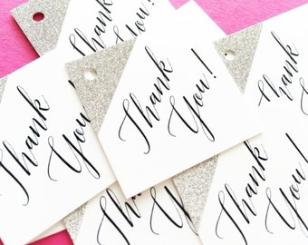 Wedding Favor Tags, Glitter Favor Tags, Silver Glitter Tags, Custom Favor Tags, Square Favor Tags, Thank You Gift Tags