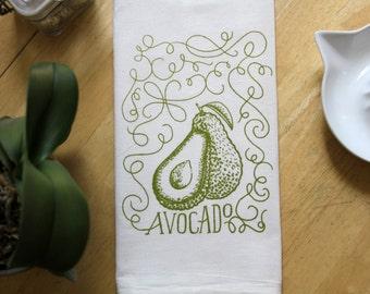 Avocado Flour Sack Towel - Hand Screen Printed