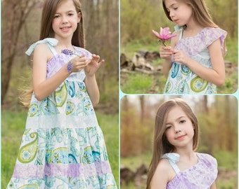 Girls Spring Dress - One Shoulder Dress - Easter Dress - Tiered Party Dress - Lavender Aqua Dress - Handmade Dress - Baby Toddler Dress