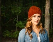 Chunky Cable Knitted Winter Wool Pom-Pom Hat in Burnt Orange (C06)