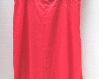Vintage Red Slip Dress, Full Length, Kaysen Made in USA Size 38, Valentine Red Hot Lace Nylon, Lingerie, Feminine Romance Bride Full Length