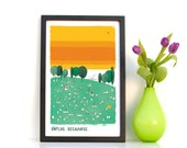 Spring Fever Summertime in the Park Illustration Art Print in Orange,Green, Yellow, Rainbow with Balloons, Trees