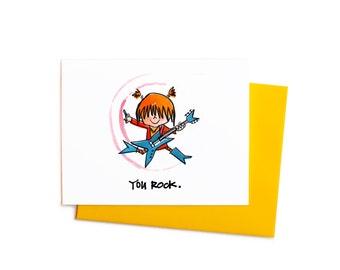 You Rock Single Greeting Card, Little Rockstar Congrats Card, Illustrated Kiddos Series