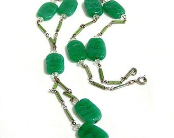 Art Deco Green Molded Glass and Enamel Necklace
