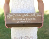 Personalized Wood Wine Box Rustic Wedding, Anniversary, Bridal Shower, Engagement, Housewarming, Christmas Gift (NVMHDA1134)