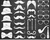 Chalkboard Mustache Clipart Digital Mustache Clip Art Hipster Clipart Vector Mustache Silhouette Gentleman Invitations Retro Party Printable