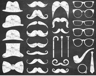 Chalkboard Mustache Clipart Digital Mustache Clip Art Hipster Clipart Vector Mustache Silhouette Gentleman Invitations Retro Party Printable