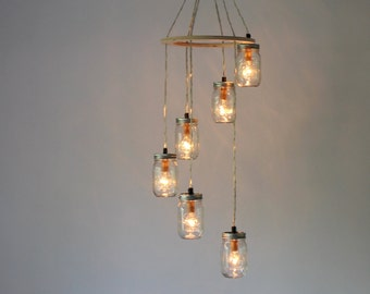 Spiral Mason Jar Chandelier, 6 Clear Jars, BootsNGus Mason Jar Pendants Lighting Fixture, Modern Home Lighting & Home Decor, Bulbs Included