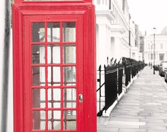 London Photography - Red Phone Booth, Kensington and Chelsea, Classic London, England Travel Photo, Urban Home Decor, Large Wall Art