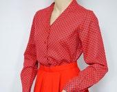 Vintage Blouse Red Print Blouse Sears V Neckline Secretary Blouse 1970's Long Sleeved Blouse Size 10