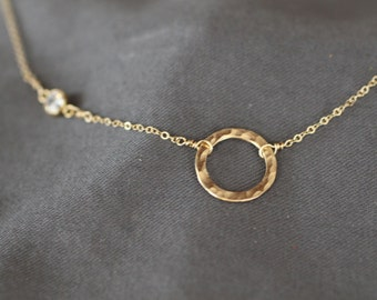 delicate gold necklace, dainty gold necklace, thin gold necklace, small circle, tiny cz, bezel cubic zirconia, hammered circle, N126