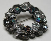 Signed Austria Rhinestone Brooch Vintage Costume Jewelry Austrian Antiqued Silver Leaves
