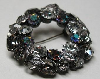 Signed Austria Rhinestone Brooch Vintage Costume Jewelry Austrian Antiqued Silver Leaves
