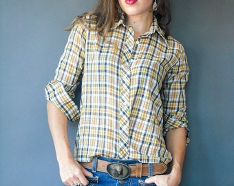 Vintage 70's Nordstrom PAPER THIN Yellow Plaid Blouse / Preppy Oxford Button Down Shirt / Long Sleeve