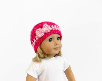 Doll Clothes, 18 Inch Doll Hat, Pink Crochet Doll Beanie, Toys