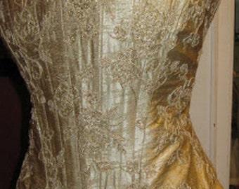 Beautiful Irish Wedding Prom Formal Silk Dress, Size 12UK/38EU