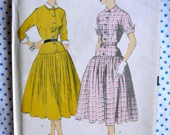 UNCUT *  1950's  Advance  Pattern 6086  - Ladies' Drop Waist Dress with Skirt Options * Size 16 * Bust 34