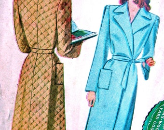 UNCUT * McCall Pattern 5320 - Vintage 1940's Sewing Pattern - Ladies' & Misses Beautiful  Housecoat - Size 16 * Bust 34