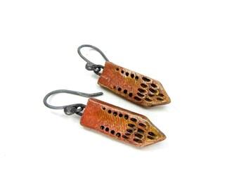 Tribal Red Tie Earrings - Rustic Artisan Ceramic Earrings No. 201
