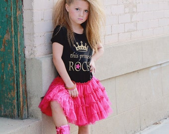 Sale, Rock Princess Tutu Dress, Girls Pettidress, Gold and Pink Birthday, Rock Star Party, Girls Birthday Dress